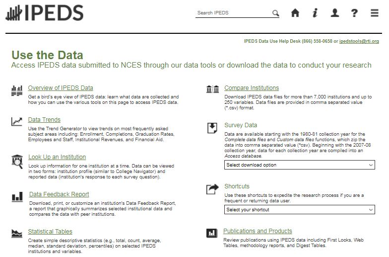 Screen shot of IPEDS Use the Data website
