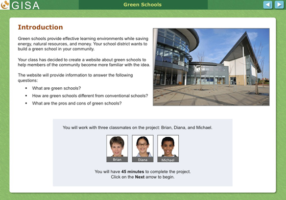 A screenshot of the GISA assessment intro page
