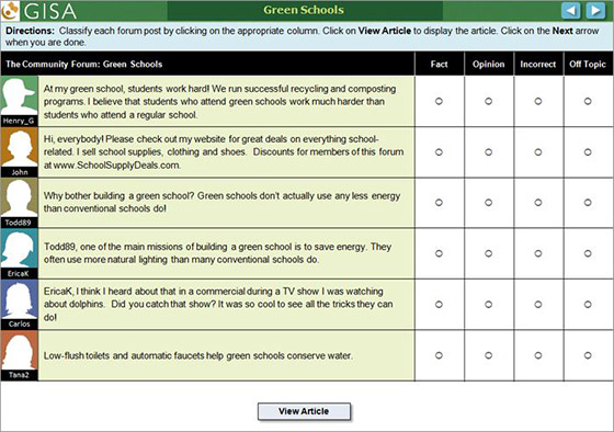 Screenshot of a GISA forum on Green Schools