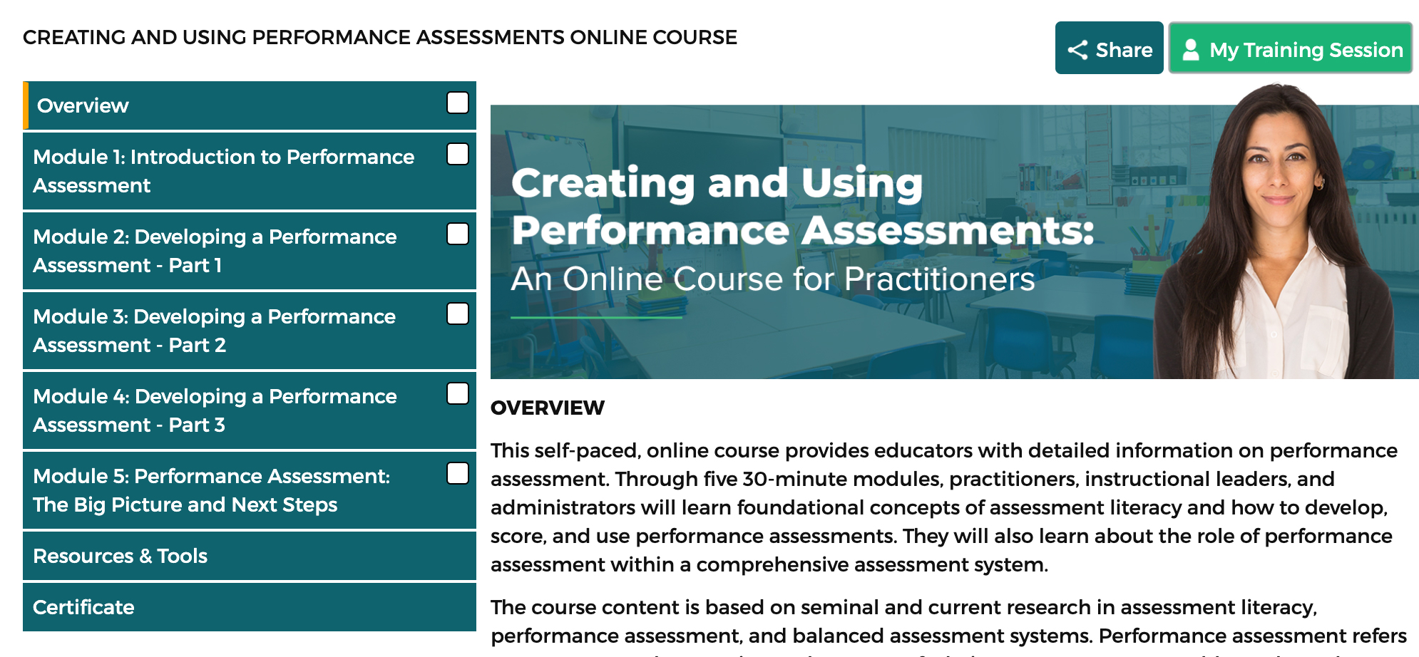 Creating and using performance aseesements: An Online course for Practitioners