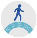 graphic showing figure walking on a round puzzle