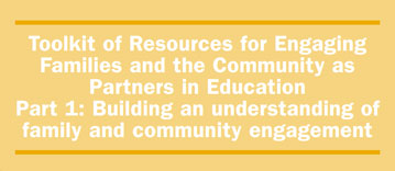 Yellow cover to the Toolkit of Resources for Engaging Families