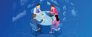 Graphic of a group of four working around a round table