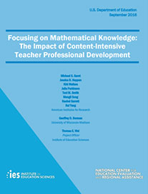 Elementary School Math Professional Development Impact Evaluation: Report