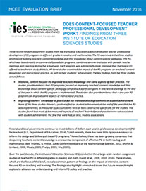 Elementary School Math Professional Development Impact Evaluation: Synthesis Brief