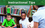Student raising hand in classroom. with words instructional tips.