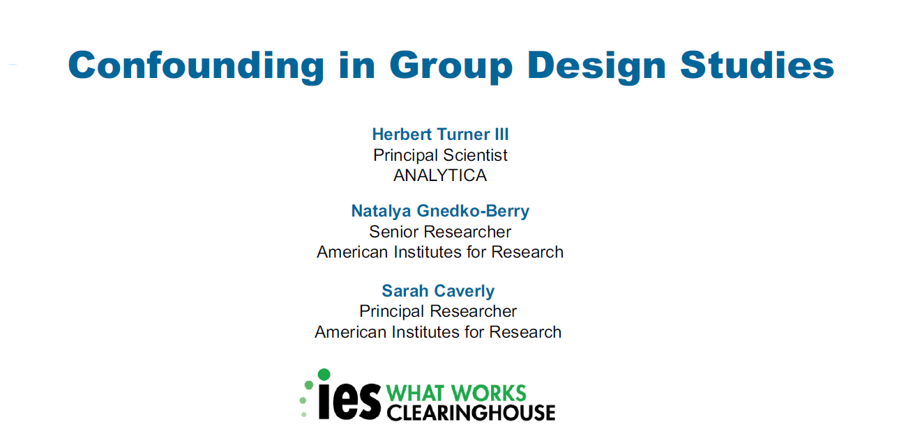 Confounding in Group Design Studies