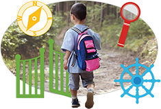 A student walking with a backpack