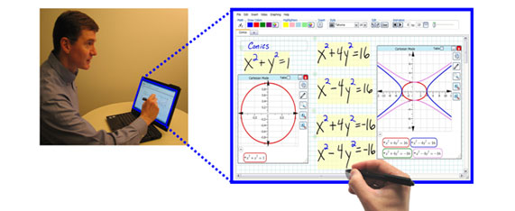 Screen shot of a man using the Fluidity software to generate formulas from hand-written sketches