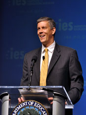 Secretary Arne Duncan delivers opening remarks at the conference